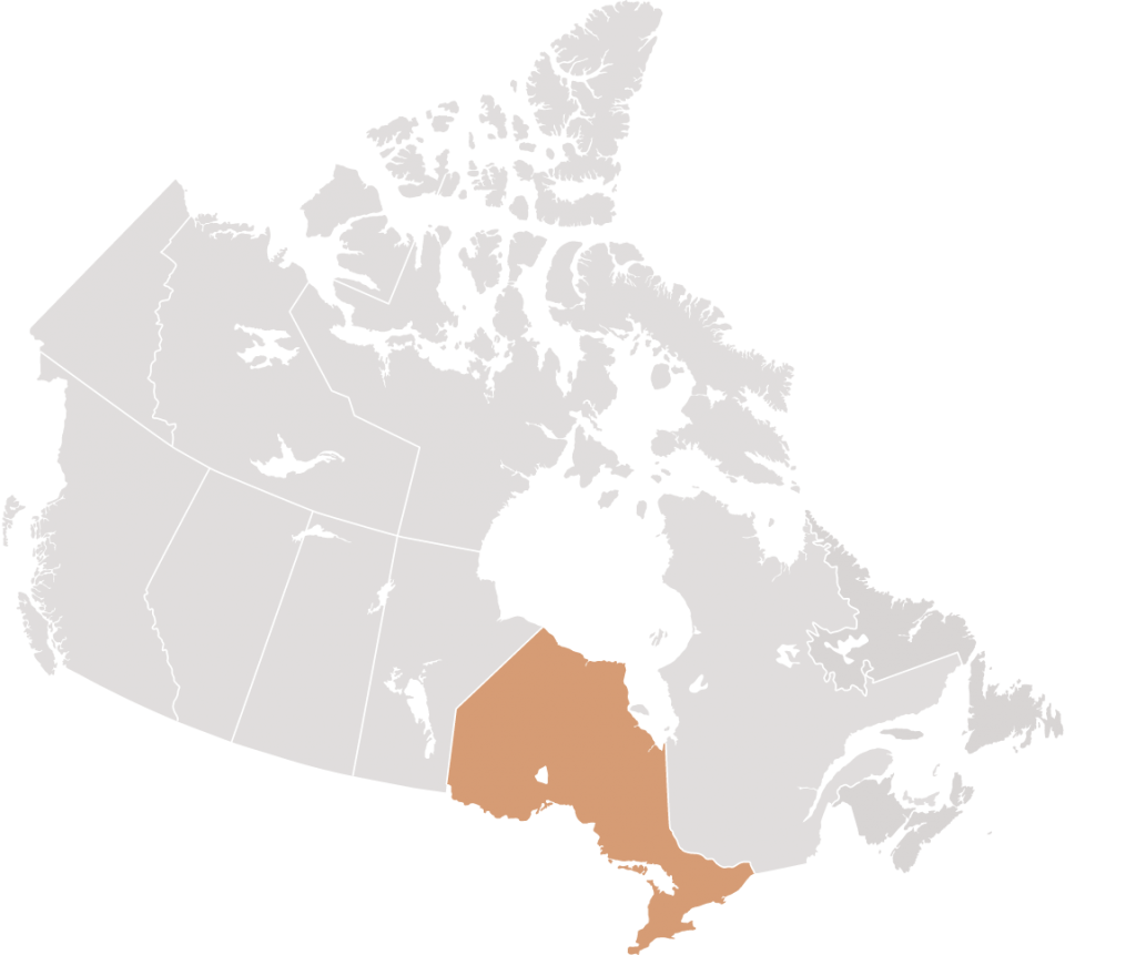 Canadian map with Ontario highlighted for Blaney McMurtry