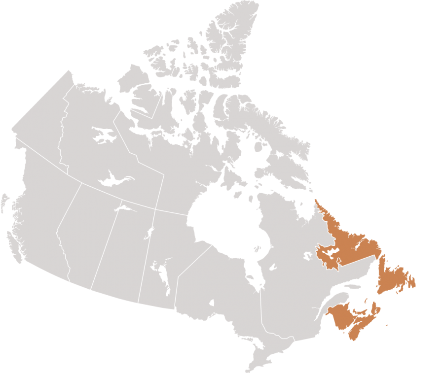 Canadian map with Newfound & Labrador highlighted for Cox & Palmer