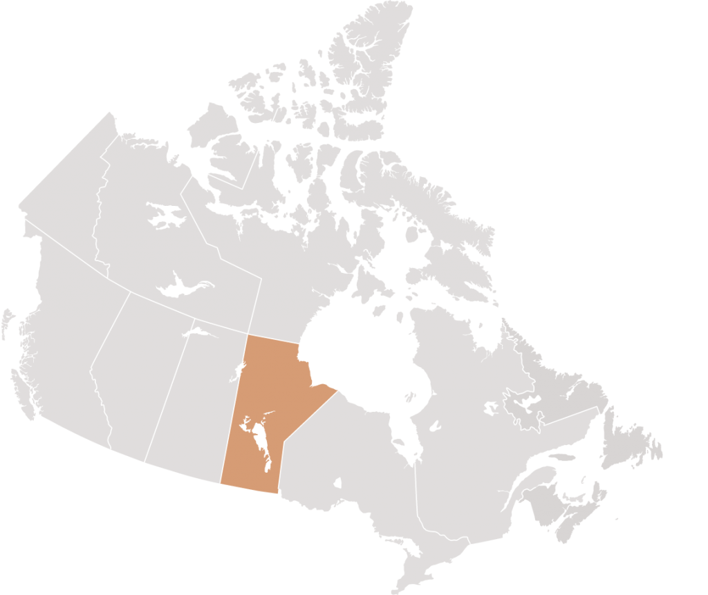 Canadian map with Manitoba highlighted for Fillmore Riley