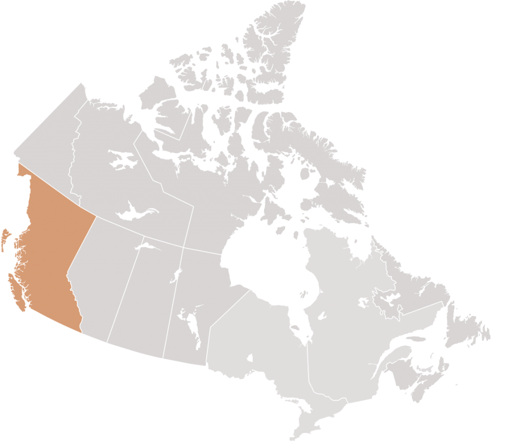 Canadian map with British Columbia highlighted for Lindsay