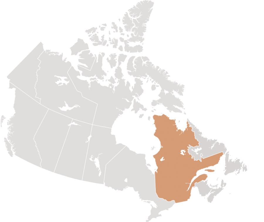 Canadian map with Quebec highlighted for Stein Monast